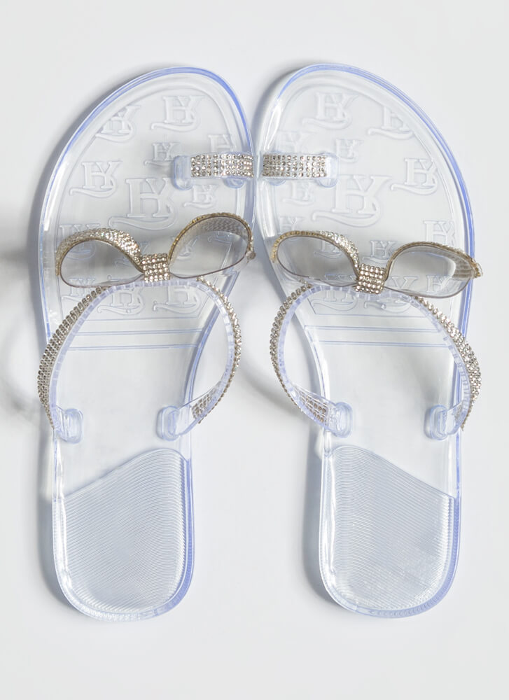 Bows And Rainbows Jeweled Jelly Sandals CLEAR