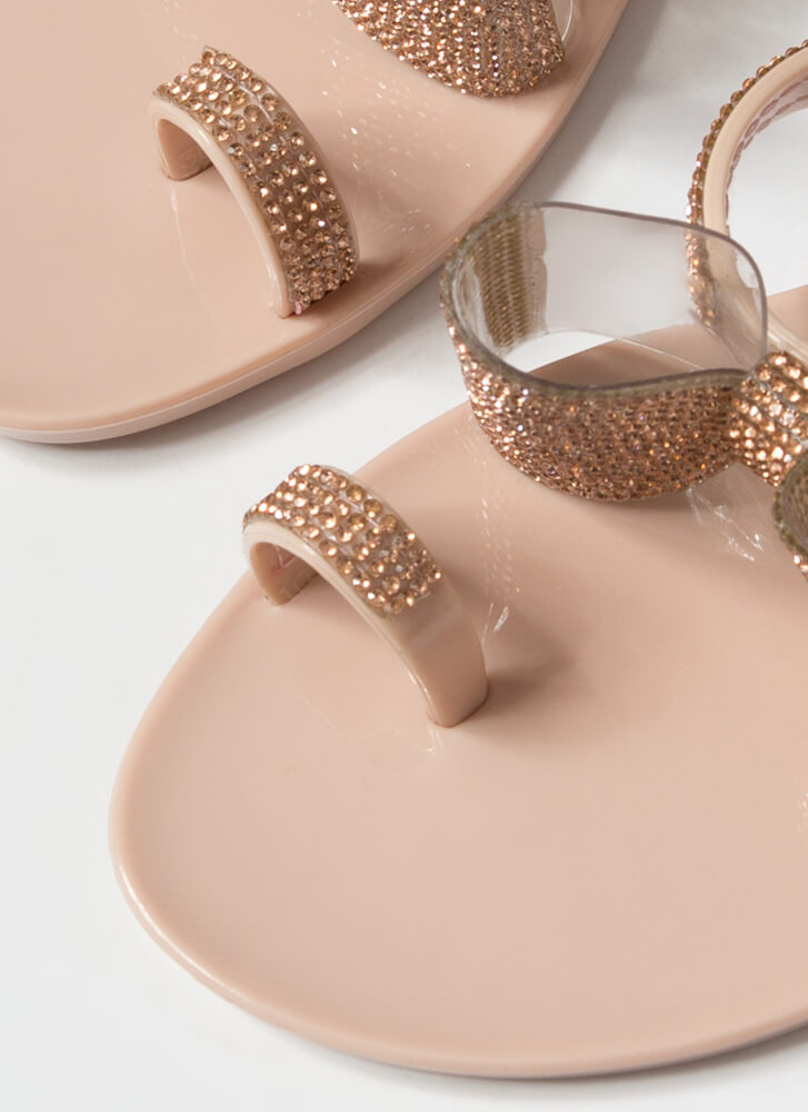 Bows And Rainbows Jeweled Jelly Sandals NUDE