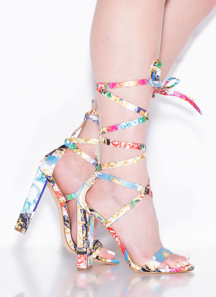 So Stunning Chunky Strappy Lace-Up Heels BAROQUE