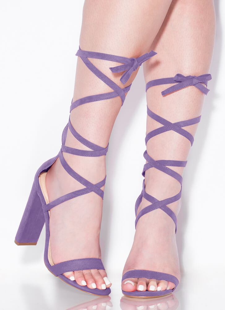 So Stunning Chunky Strappy Lace-Up Heels LILAC