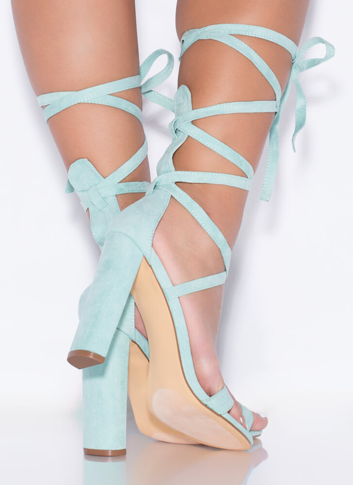 So Stunning Chunky Strappy Lace-Up Heels MINT