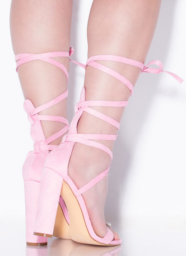 So Stunning Chunky Strappy Lace-Up Heels PINK