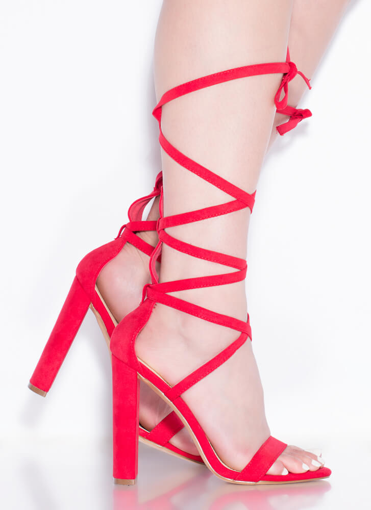 So Stunning Chunky Strappy Lace-Up Heels RED