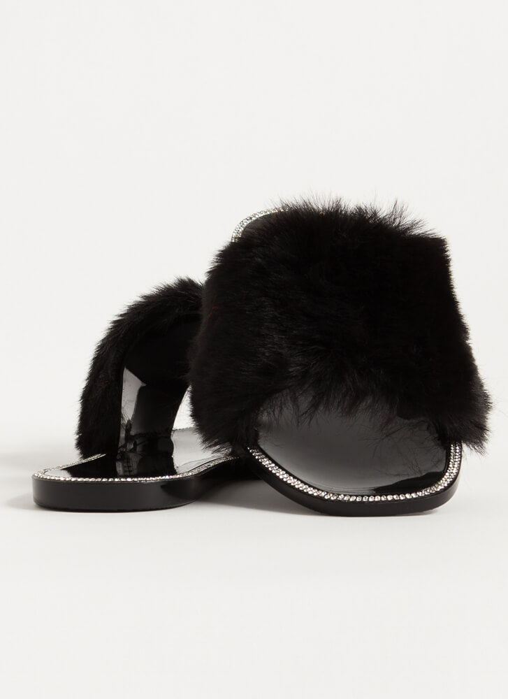 All Fur You Jeweled Jelly Slide Sandals BLACK