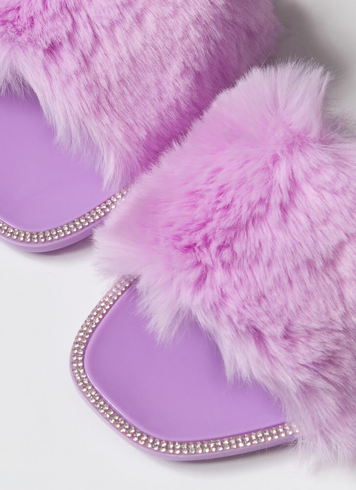 All Fur You Jeweled Jelly Slide Sandals LILAC