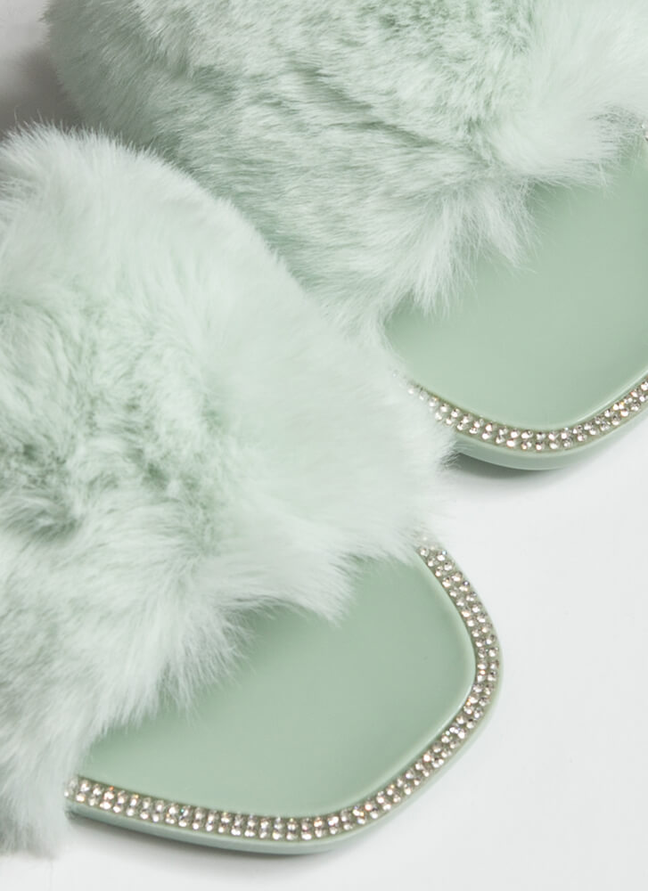 All Fur You Jeweled Jelly Slide Sandals MINT
