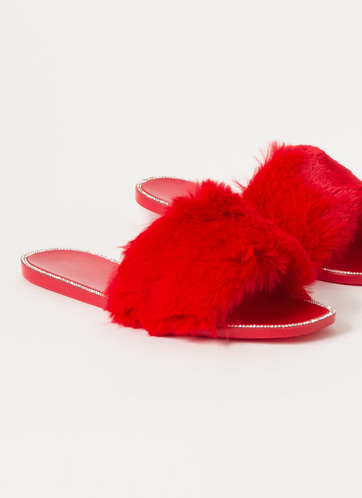 All Fur You Jeweled Jelly Slide Sandals RED