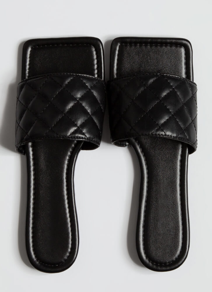Style Squared Quilted Slide Sandals BLACK