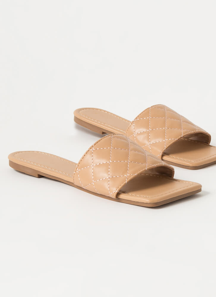 Style Squared Quilted Slide Sandals NUDE