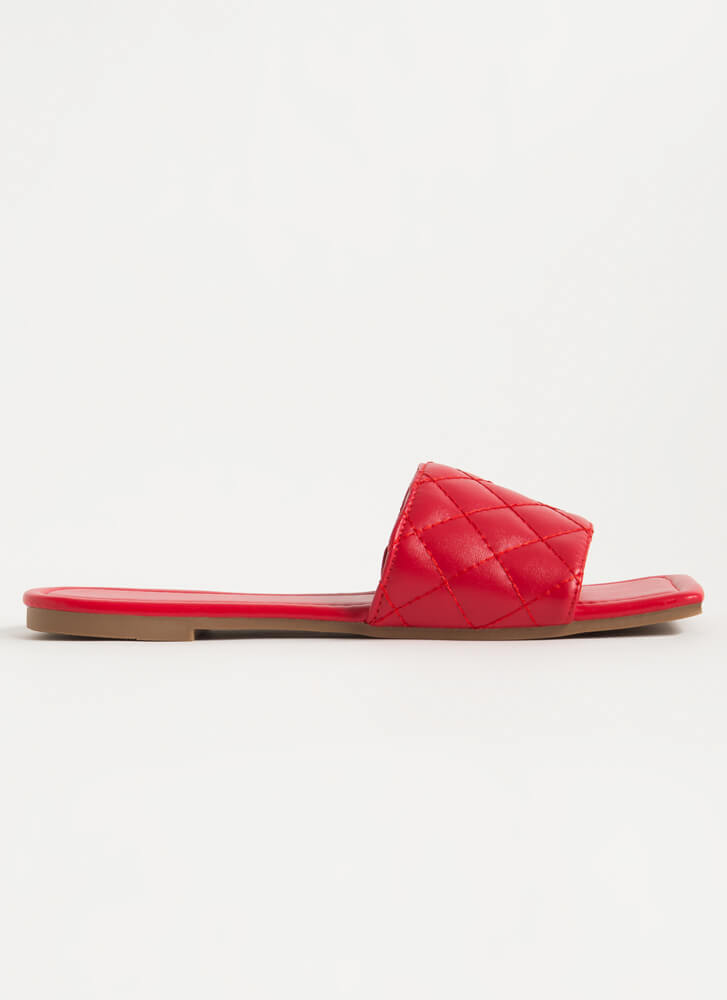 Style Squared Quilted Slide Sandals RED
