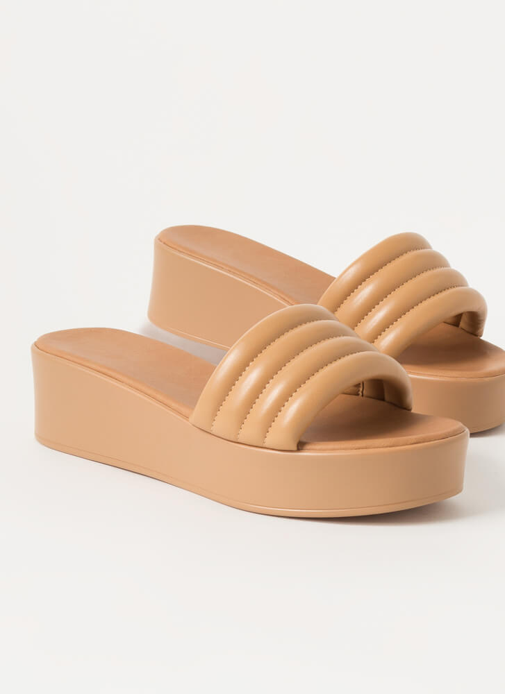 It's Easy Padded Platform Slide Sandals NATURAL