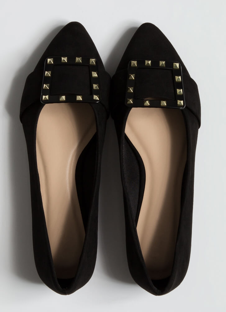 Looking Chic Studded Buckle Strap Flats BLACK