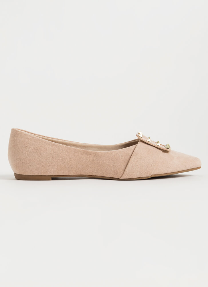 Looking Chic Studded Buckle Strap Flats NUDE