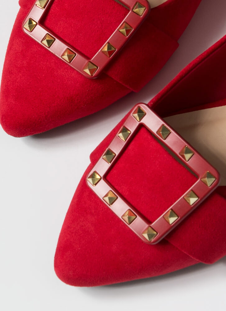 Looking Chic Studded Buckle Strap Flats RED