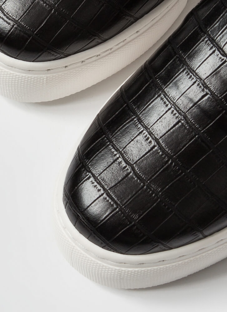 Crocodile Tale Slip-On Platform Sneakers BLACK