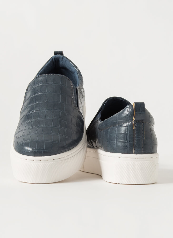 Crocodile Tale Slip-On Platform Sneakers BLUE