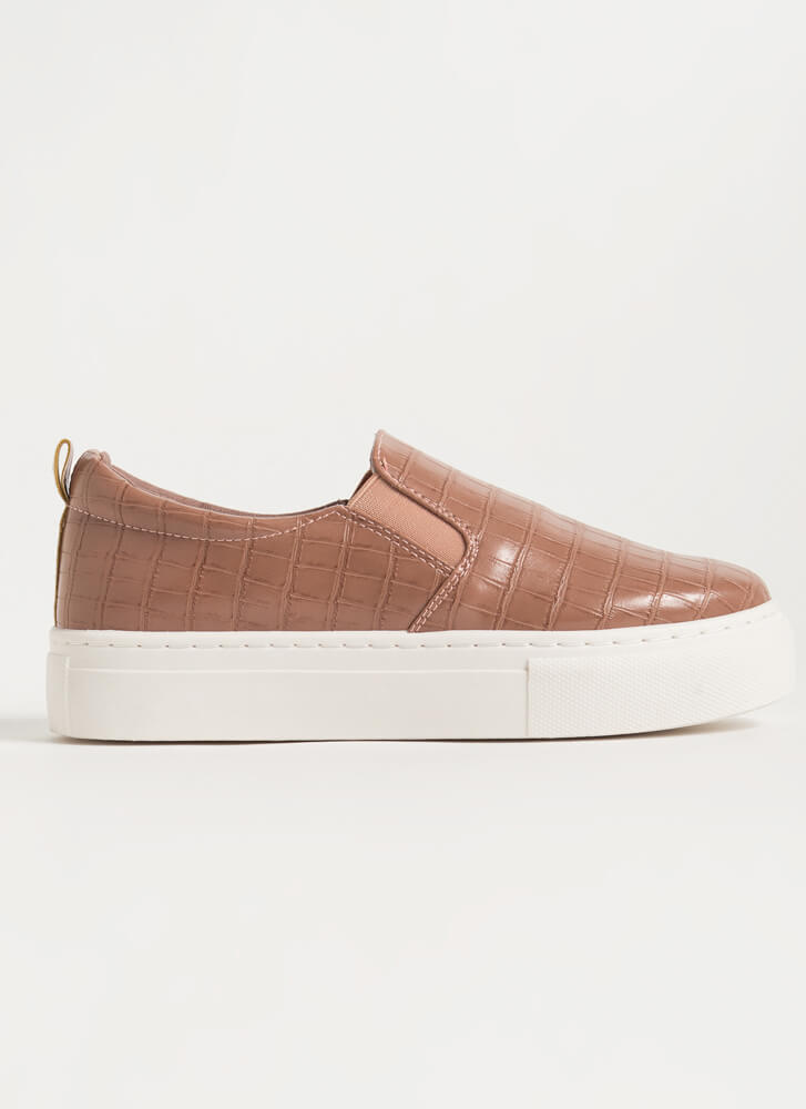 Crocodile Tale Slip-On Platform Sneakers DESERTROSE
