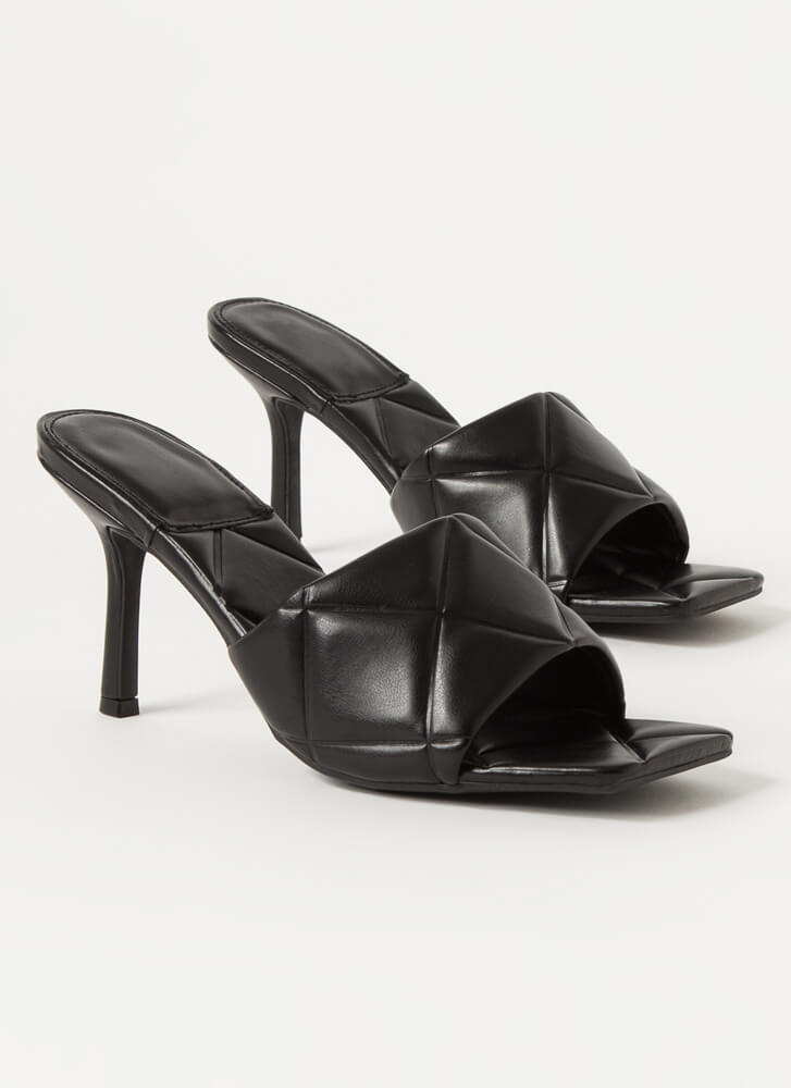 First Class Quilted Open-Toe Mule Heels BLACK