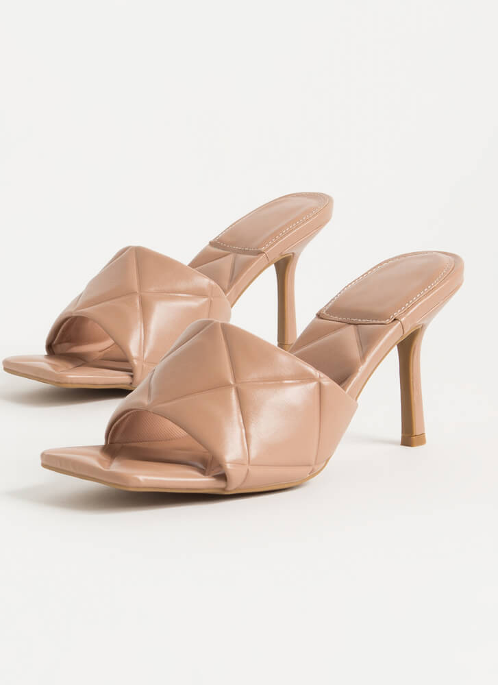 First Class Quilted Open-Toe Mule Heels CAMEL