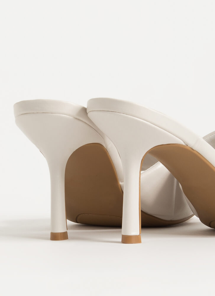First Class Quilted Open-Toe Mule Heels IVORY