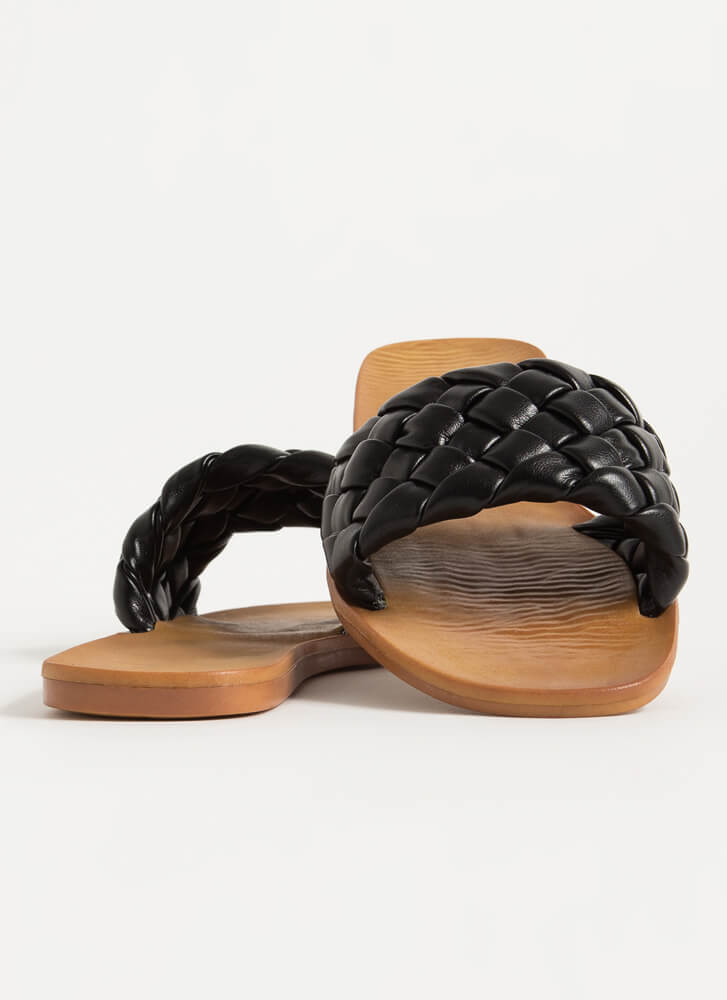 Braids Woven Faux Leather Slide Sandals BLACK
