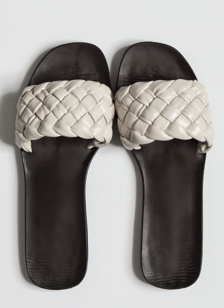 Braids Faux Leather Woven Slide Sandals IVORY