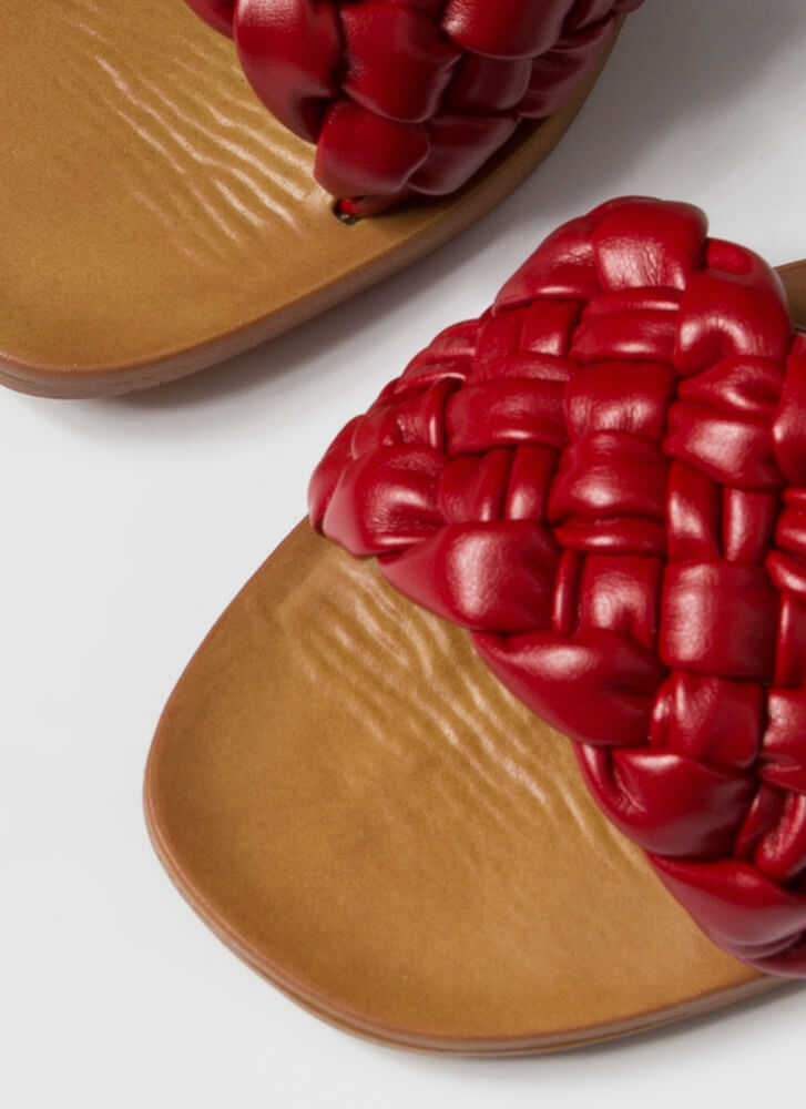 Braids Faux Leather Woven Slide Sandals RED