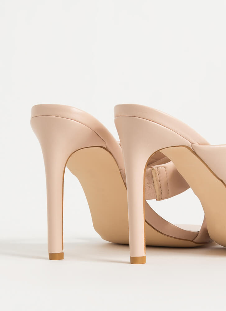 You Cross Me Again X-Strap Mule Heels NUDE