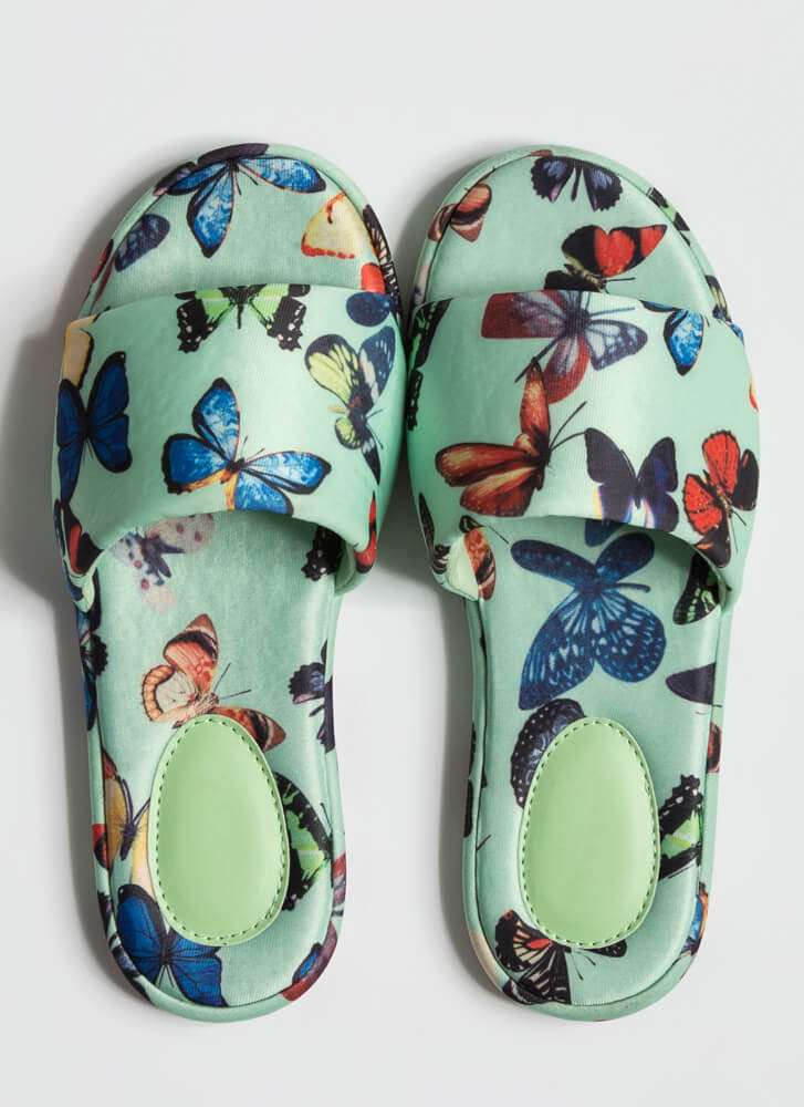 Butterfly Collector Padded Slide Sandals MINT