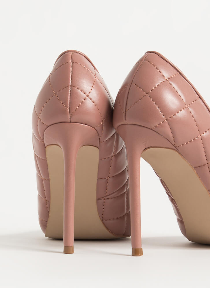 High Class Pointy Quilted Stiletto Pumps TERRACOTTA