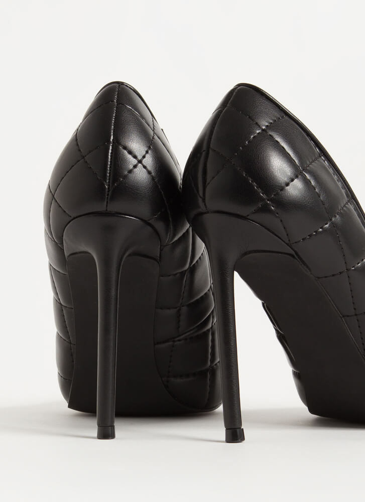 High Class Quilted Pointy Stiletto Pumps BLACK