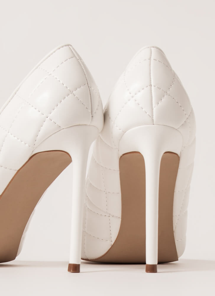 High Class Quilted Pointy Stiletto Pumps WHITE