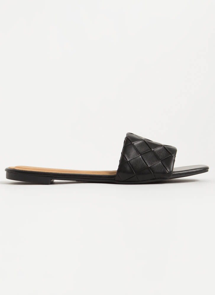 Over Under And Out Woven Slide Sandals BLACK