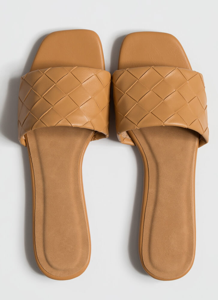 Over Under And Out Woven Slide Sandals NATURAL