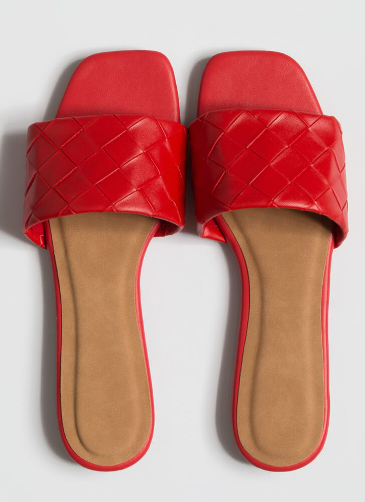 Over Under And Out Woven Slide Sandals RED