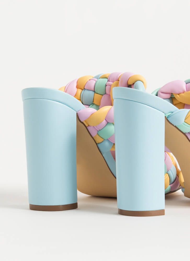 Twist And Weave Colorful Chunky Heels MULTI