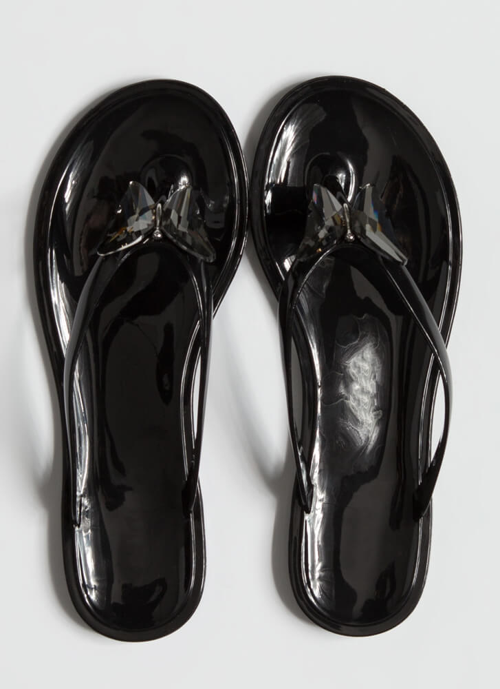 Social Butterfly Jelly Thong Sandals BLACK