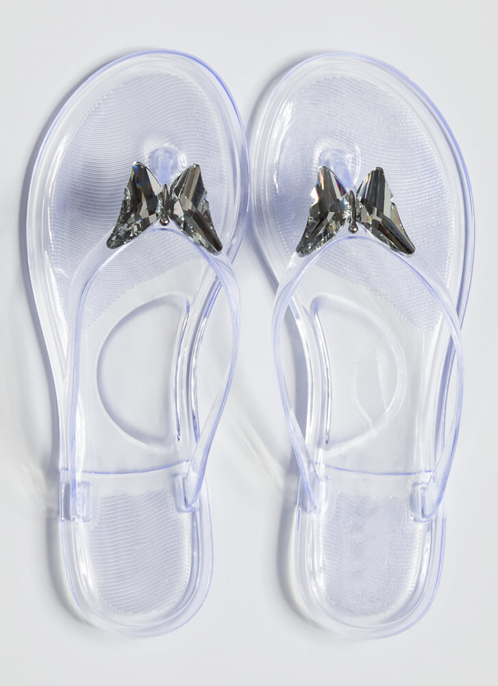 Social Butterfly Jelly Thong Sandals CLEAR