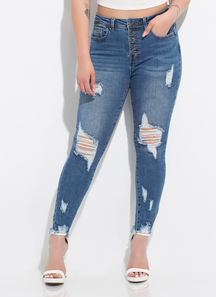 So Distressed Button-Fly Butt-Lift Jeans MEDBLUE