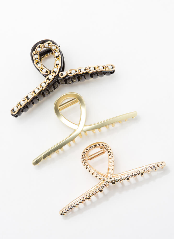 Loops And Chains Claw Hair Clip Trio MULTI