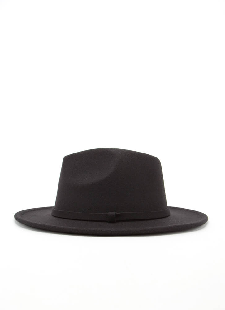 Fashionista Trimmed Felted Fedora BLACK