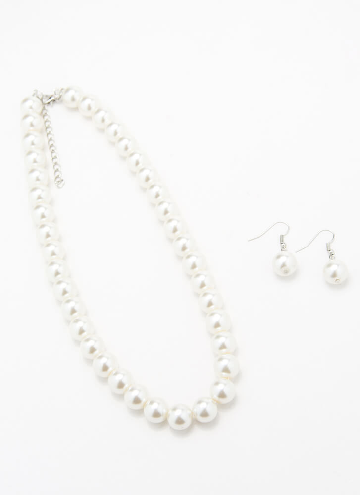 Lady's Choice Faux Pearl Necklace Set IVORY