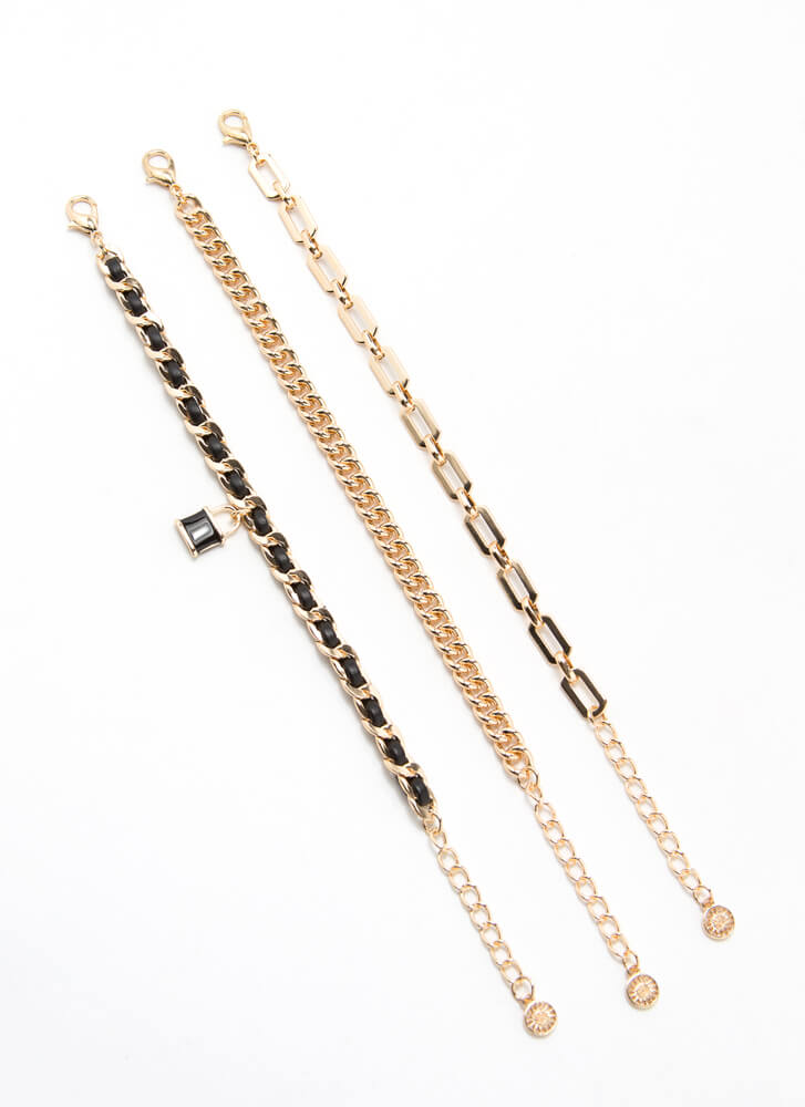 Lock In Your Answer Chain Bracelet Trio GOLD