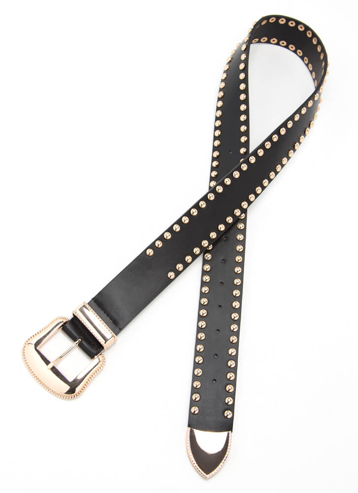 Get Edgy Studded Faux Leather Belt BLACK