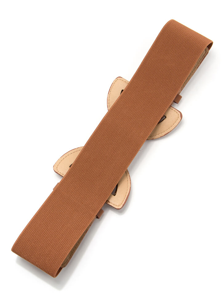 It's A Cinch Double Buckle Stretchy Belt CAMEL