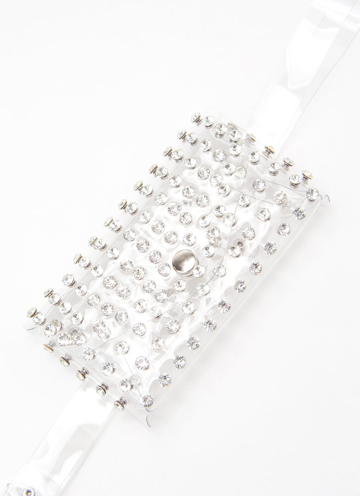 To Be Clear Jeweled Pouch And Belt Set CLEAR