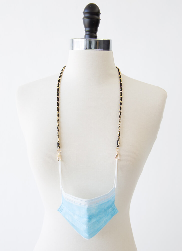 In Link Faux Suede Face Mask Chain BLACK