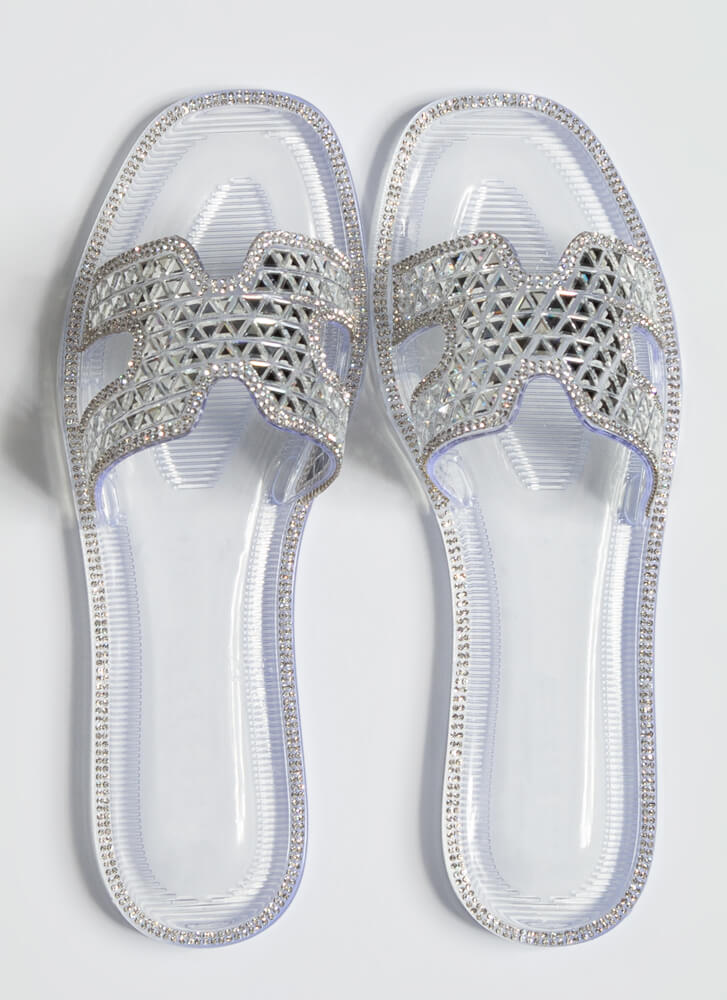 Jeweled Dimension Jelly Slide Sandals CLEAR