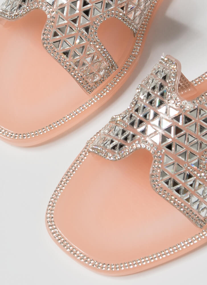 Jeweled Dimension Jelly Slide Sandals NUDE