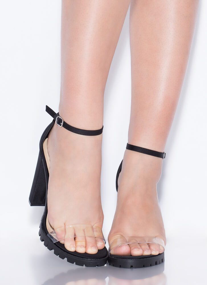 Clearly In Lug Chunky Ankle Strap Heels BLACK